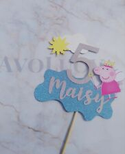 Personalised Peppa Pig Inspired Glitter Cake Topper Any Name  & Number