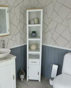 Oak Top White Painted Bathroom Storage Unit   Tall Cabinet with Shelving 180cm