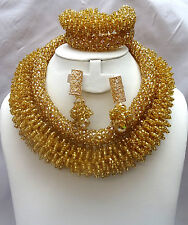 Latest Design Gold Statement uniq African Beads Bridal Wedding Party Jewelry Set