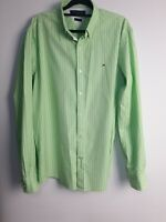 Tommy Hilfiger Men's Green/White Striped Button Shirt Long Sleeve Size L
