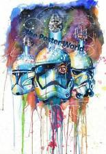 SET OF 2 STAR WARS STORM TROOPER R2D2 WATERCOLOUR PICTURE POSTER NEW