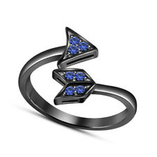 Sapphire Arrow Style Adjustable Toe Ring 14K Black Gold Plated Round Cut Blue