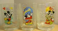 3 McDonalds Disney World Magic & Animal Kingdom Epcot glassware glasses 2000