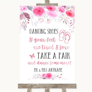 Wedding Sign Poster Print Pink Watercolour Floral Dancing Shoes Flip Flops