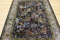 Oriental Persian Kashmir Hand Knotted Silk on Silk Rug Carpet, Floor Decor Room