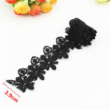 Black Embroidered Lace Trim Elegant Wedding Fabric Sewing Crafts DIY Decoration