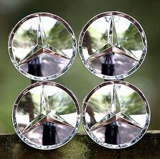 MERCEDES-BENZ (SET OF 4) 75mm FULL CHROME FINISH WHEEL CENTER CAPS MB1 WC4PC515