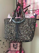 VICTORIA'S SECRET TOTE WEEKENDER Bag Leopard  PYTHON Chain Textured  Zip Top