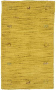 Modern Tribal Small Oriental Rug 2X3 Hand-Loomed Solid Gold Contemporary Carpet