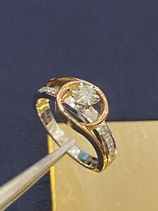 0.54 Cts Round Princess Cut Diamonds Anniversary Solitaire Ring In 585 14K Gold