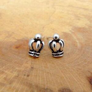 Crown Design 925 Sterling Silver Stud Earrings Jewellery