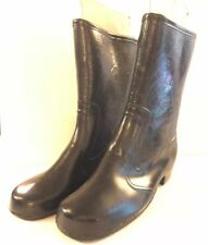 Wintercarnival Vintage Black Rubber Boots Lined Low Heel Made Usa Vintage Size 6