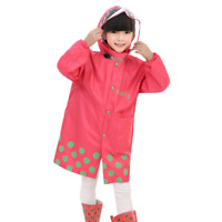 Kids Children Raincoat Hoodie Outwear Polyester Rain Coat Travel Rainwear Suit