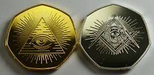 2 x FREEMASONS, MASONIC Gold & Silver Collectors Tokens. Illuminati, Compasses G
