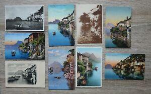 Posten 9 AK Schweiz 1900-50 Gandria Tessin Ort Häuser Dampfer Schiff Hotels +++