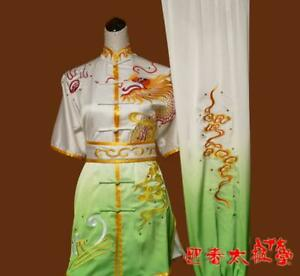 Gradient Martial Arts Kung Fu Uniform Wushu Competition Suit Dragon Embroidery