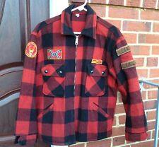 Vintage Hunting Wool Talon Zipper Plaid W/Patch Coat Jacket. Rare!