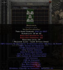Diablo 2 Resurrected D2R  - Obedience | Eth Cryptic Axe - Mercenary Weapon