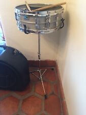 Vintage LUDWIG 1980s Snare Drum 5x14 - Blue/Olive Badge + Case, Stand
