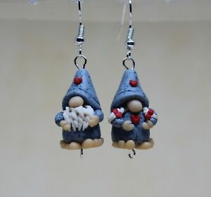 Fun Handmade Fimo Nordic Mr and Mrs Gonk Gnome Dangle Earrings Gifts