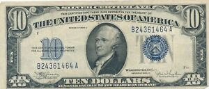 1934 C $10 Ten Dollar  Blue Seal Silver Certificate