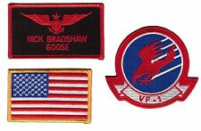 Goose Top Gun Movie Name Tag Eagle US Flag Costume Patches 3 pcs Set Hook