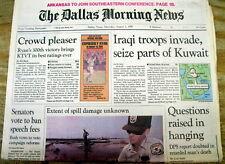 1990 headline newspaper Saddam Hussein IRAQ INVADES KUWAIT - Led to 1st GULF WAR