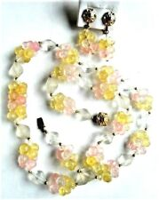 """Vintage Frosted Glass Beads & Lucite Flower Clusters 26"""" Necklace & Earrings Set"""