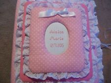 BABY GIRL Pink / Lavender Polka Dot Personalized Handmade Fabric Album Scrapbook