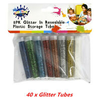 40 X CRAFT GLITTER 8 ASSORTED COLOURS COLOR IN MINI PLASTIC STORAGE TUBES AP
