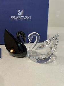 Swarovski Crystal Swan Couple Black and White MIB ( Rare )