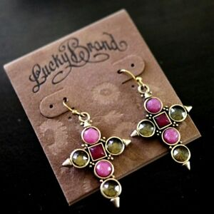 NWT LUCKY BRAND Religious CROSS Pink/Yellow Gemstone Dangle Drop Earrings NEW