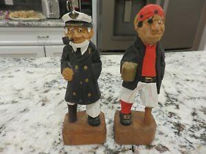 "2 Vintage Hand Carved Wooden Figures Pegleg Pirate & Sea Captain 6 1/4"" LOOK"
