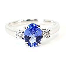 1.00 Ct Tanzanite And Diamond Ring, 18k White Gold