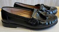 Bass Kiltie Tassel Moc Toe Loafer Black Leather Slip On Shoes 8.5 W  2553-001