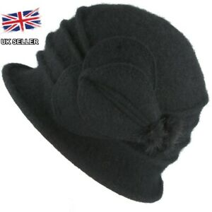 LADIES WOOL CLOCHE FELT HAT 1920's CRUSHABLE WINTER DOWNTON ABBEY UK SELLER