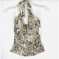 NEW Calvin Klein Snake-Print Halter Top Side-Tie Swim Suit Tankini XSmall $166