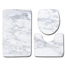 Marble Texture Bath Rug Set 3 Piece Non Slip Bathroom Mats Soft
