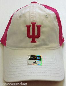 "NCAA Indiana Hoosiers Adidas ""Breast Cancer"" Buckleback Women Slouch Cap Hat NEW"