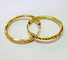 EXCELLENT 22K THAI BAHT SOLID GOLD HOOP EARRINGS SIZE 20 MM.!!