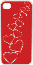 Valentine's Graduating White Hearts with Red Background iPhone 4 4s Case Cover