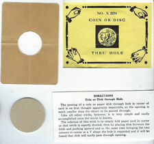 Magic Token-Not in Kuethe-Mysto Plain Card Disc-Coin thru Hole Envelope-vFine-Rf