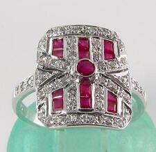 Class 9Ct White Gold Large Vinatge Ins Indian Ruby & Diamond Ring Free Resize