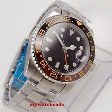 40mm PARNIS black dial GMT Datum Herren Automatikuhr Saphirglas Uhr mens watch