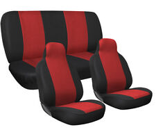 Car Seat Covers Red and Black Complete Full Set For Auto Vehicle Upholstery