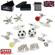 Men's Sport Cufflinks - Tennis Football Cricket Golf Cufflinks & Gift Box/Pouch