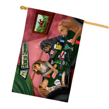Home of Coonhound 4 Dogs Playing Poker House Flag Flg54545