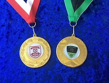 100 x Personalised Football Medals Tournament Great Quality on Ribbon Bulk Buy
