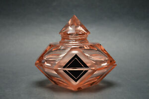 Vtg Czech Art Deco Pink Glass Black Enamel Trinket Box Karl Palda