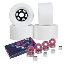 Cal 7 90mm 78A Longboard Flywheel Skateboard Wheels + Free Bearings White